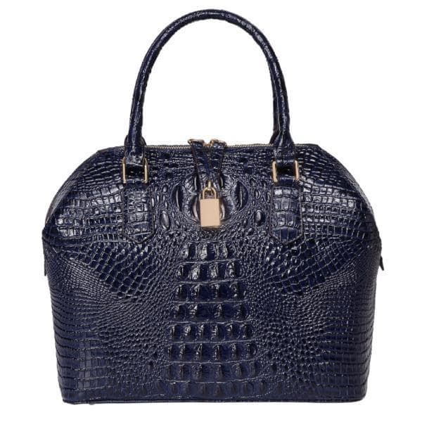 Diane Croc  Embossed Top handle Leather Tote-Blue Handbags - Vicenzo Leather - Designer