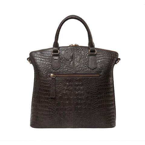 Dione Croc Embossed Top handle Leather Tote - Grey Handbags - Vicenzo Leather - Designer