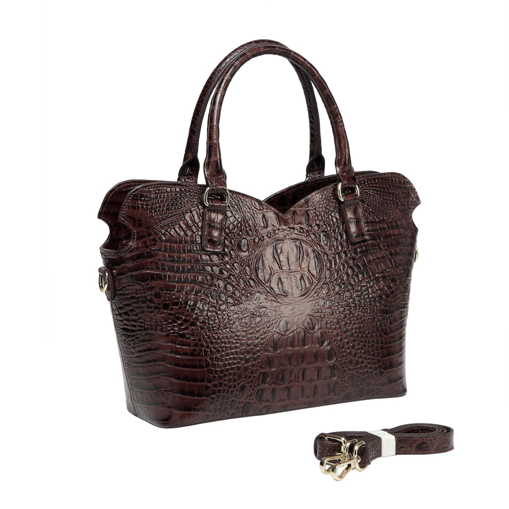 Aya Croc Embossed Leather Tote Handbag-Dark Brown Handbags - Vicenzo Leather - Designer
