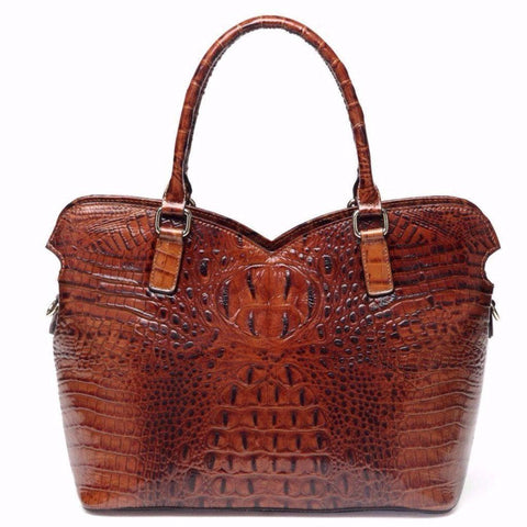Aya Croc Embossed Leather Tote Handbag Handbags - Vicenzo Leather - Designer
