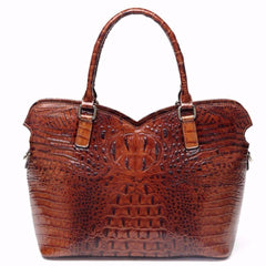 Aya Croc Embossed Leather Tote Handbag