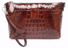 Lena  Croc Embossed Leather Crossbody Handbag