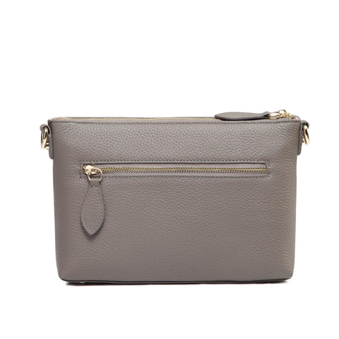 Lena  Leather Crossbody Handbag - Grey crossbody bag - Vicenzo Leather - Designer