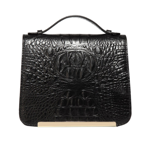 Inaya Croc Embossed Leather Crossbody Handbag-Black Handbags - Vicenzo Leather - Designer