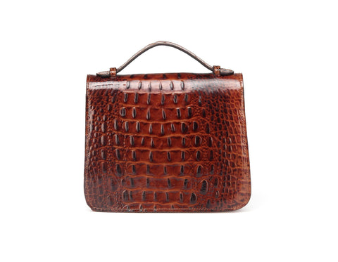 Inaya Croc Embossed Leather Crossbody Handbag Handbags - Vicenzo Leather - Designer