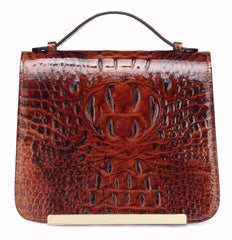 Inaya Croc Embossed Leather Crossbody Handbag