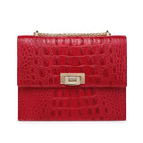 Tauren Croc Embossed Leather Crossbody Bag crossbody bag - Vicenzo Leather - Designer