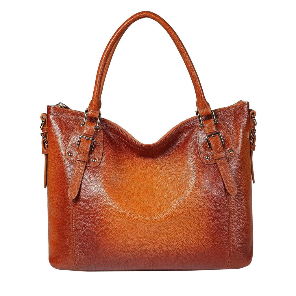 Ryder Leather Shoulder Tote Handbag - Brown Handbags - Vicenzo Leather - Designer