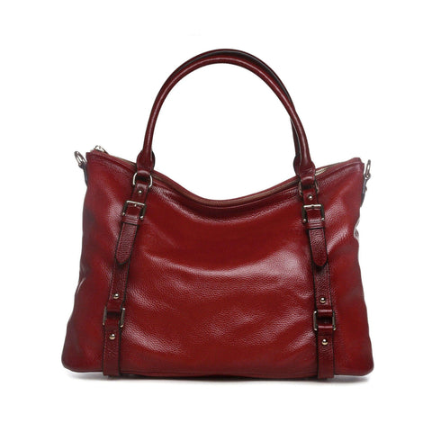 Callie Leather Shoulder Tote Handbag - Red Handbags - Vicenzo Leather - Designer