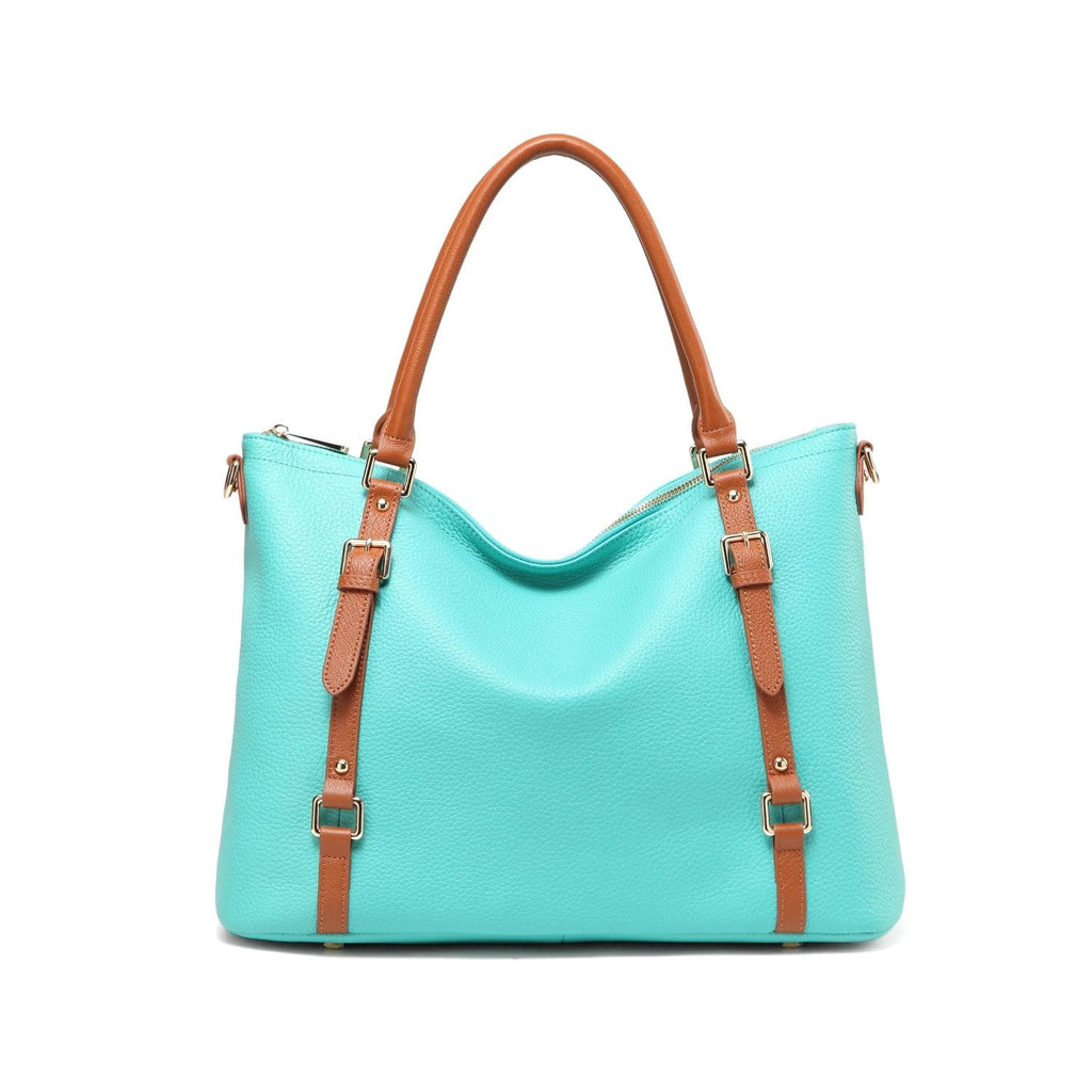 Stefani Shoulder leather handbag - Turquoise-Brown Handbags - Vicenzo Leather - Designer
