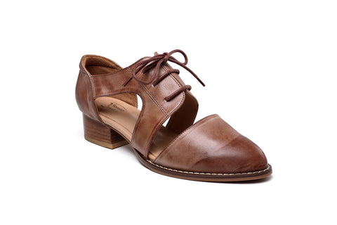 Olga Oxford Chunky Heel Leather Women Shoes Women Shoes - Vicenzo Leather - Designer