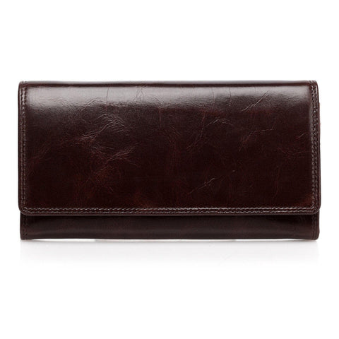 Pelomas Distressed Leather Trifold Womens Coin Purse - Brown Wallets - Vicenzo Leather - Designer