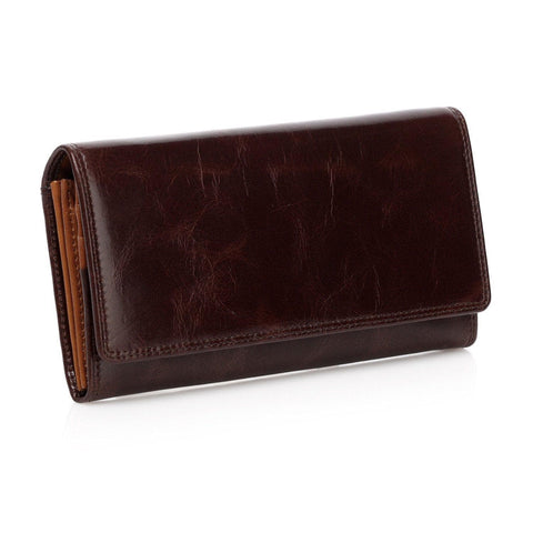 Pelomas Distressed Leather Trifold Womens Coin Purse - Brown - Monogram Wallets - Vicenzo Leather - Designer