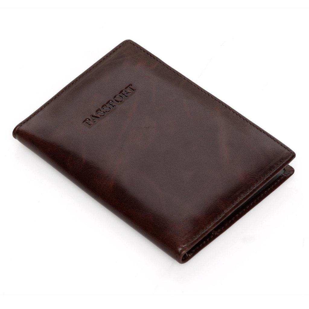 Venice Distressed Leather Passport Wallet Holder - Brown - Monogram Passport Wallets - Vicenzo Leather - Designer