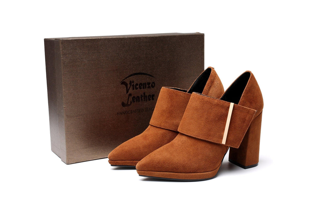 Tonia Suede Leather Bootie Women Shoes - Vicenzo Leather - Designer