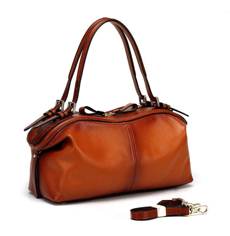 Ellen Top Handle Leather Handbag - Brown Handbags - Vicenzo Leather - Designer