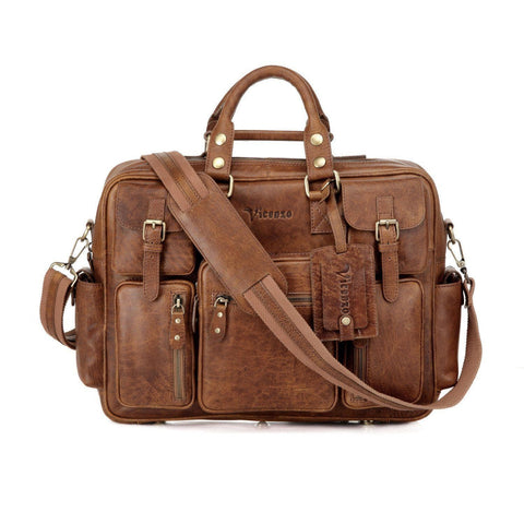Signature Full Grain Leather Briefcase, Brown briefcase - Vicenzo Leather - Designer