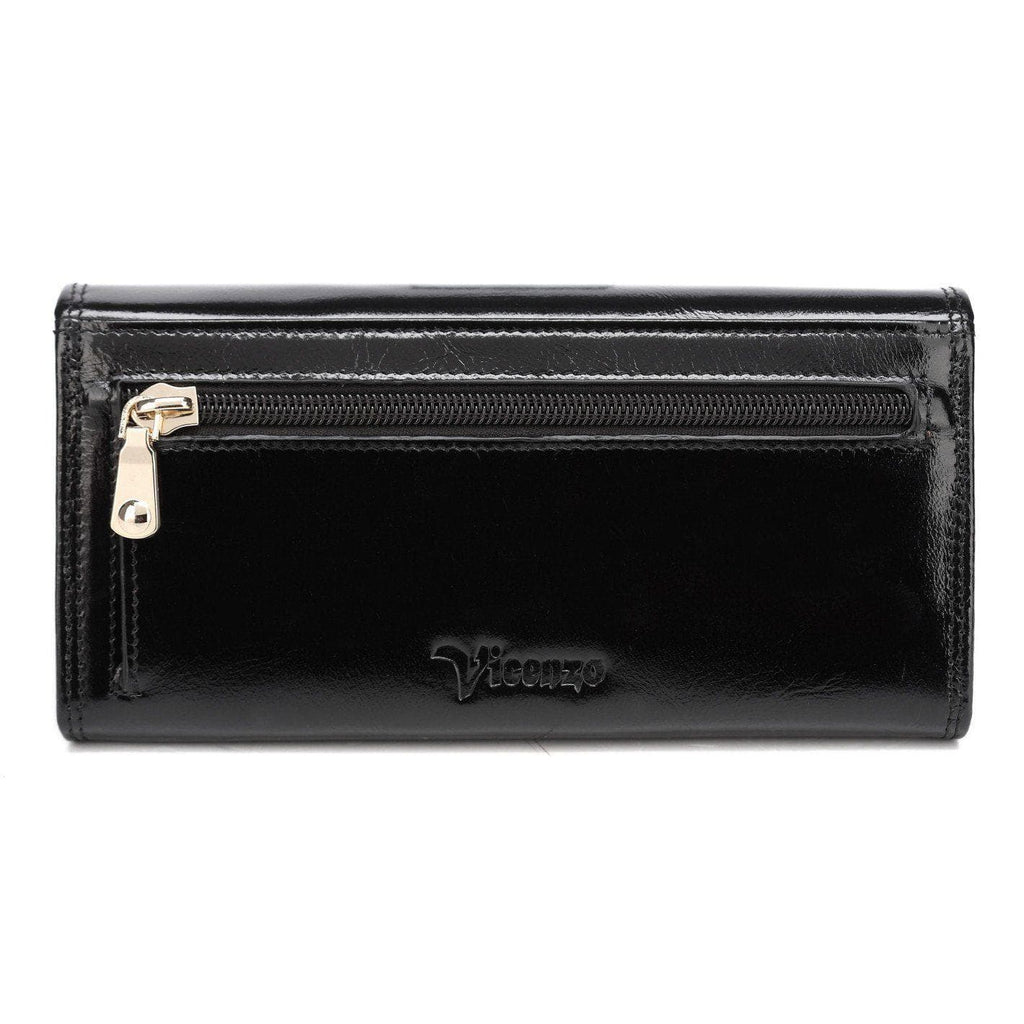 Pelomas Distressed Leather Trifold Womens Coin Purse - Black Wallets - Vicenzo Leather - Designer