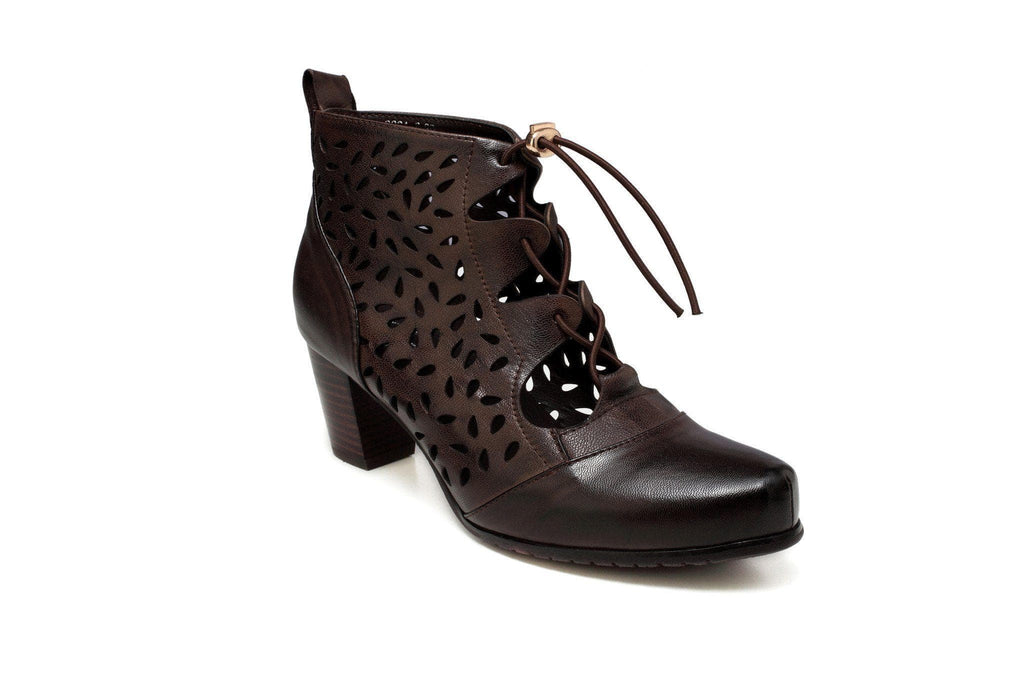 Shae Perforated Flat Heel Ankle Women Leather Boots - Dark Brown Women Shoes - Vicenzo Leather - Designer