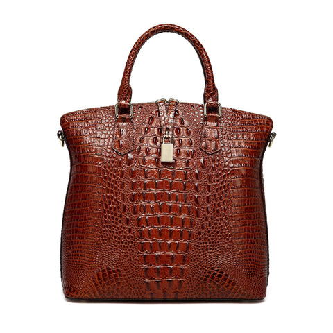 Dione Croc Embossed Tote Leather Handbag - Chestnut Handbags - Vicenzo Leather - Designer