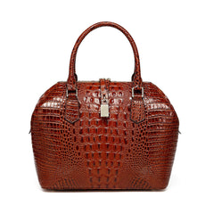 Diane Croc Embossed Tote Leather Handbag - Chestnut Handbags - Vicenzo Leather