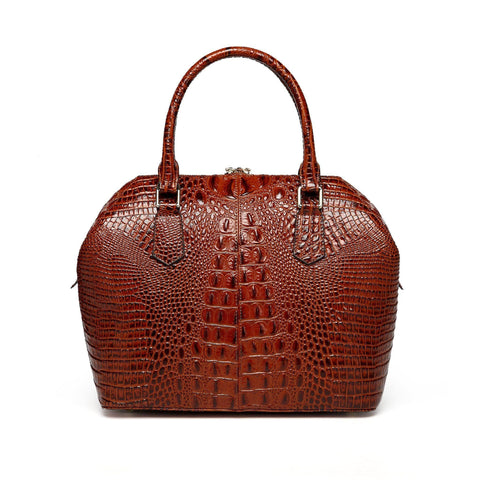 Diane Croc Embossed Tote Leather Handbag - Chestnut Handbags - Vicenzo Leather - Designer