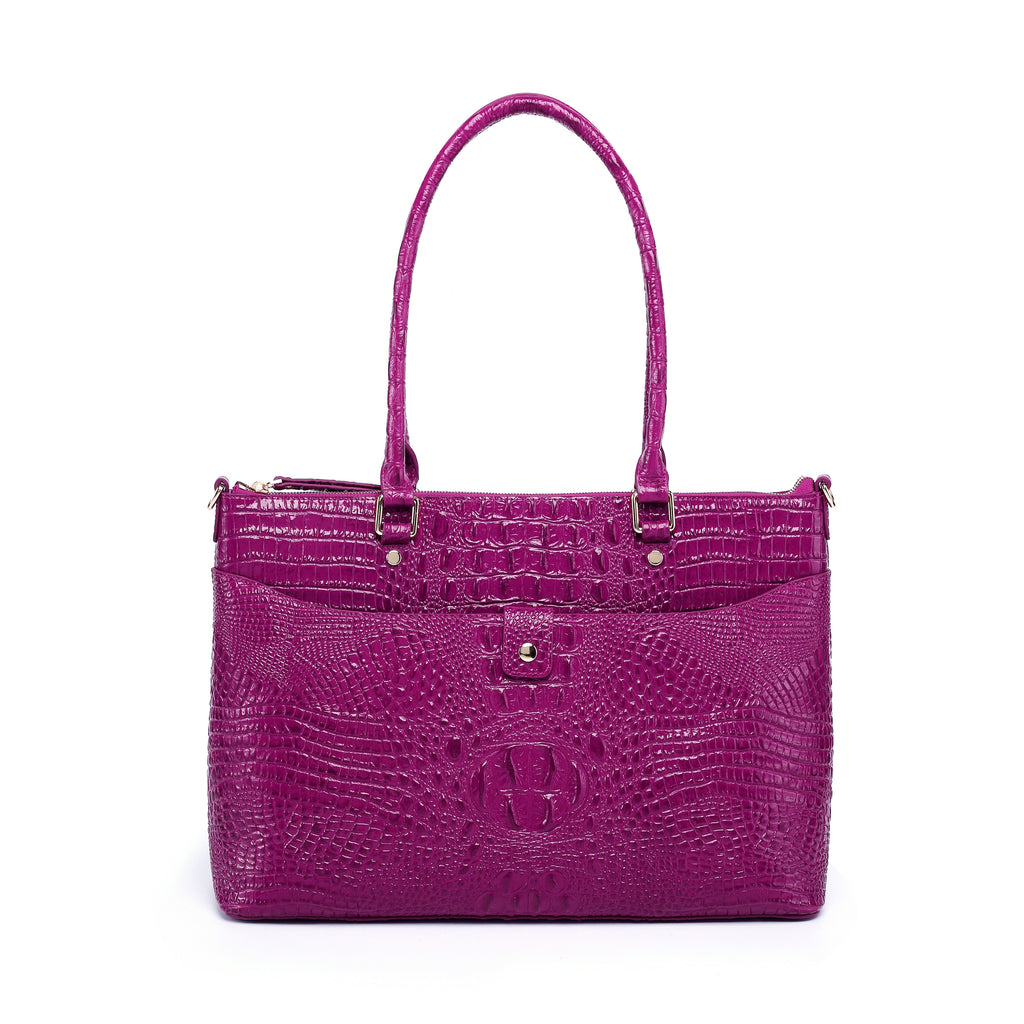 Valencia Croc Embossed Leather Handbag/Laptop Bag: Blue