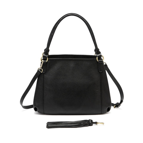 Maddison Leather Shoulder Handbag - Black Handbags - Vicenzo Leather - Designer