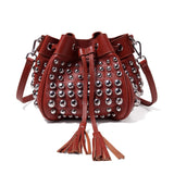 Jolyn Studded Leather Bucket Crossbody  - Red