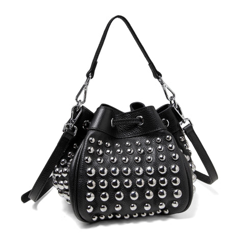 Jolyn Studded Leather Bucket Crossbody  - Black