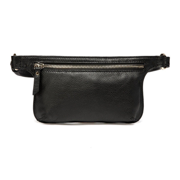Arlette Leather Waist Bag / Belt Bag - Black - Monogram