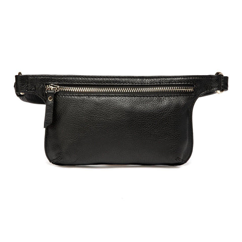Arlette Leather Waist Bag / Belt Bag - Black waist pack - Vicenzo Leather - Designer