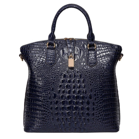 Dione Croc Embossed Top handle Leather Tote- Blue Handbags - Vicenzo Leather - Designer