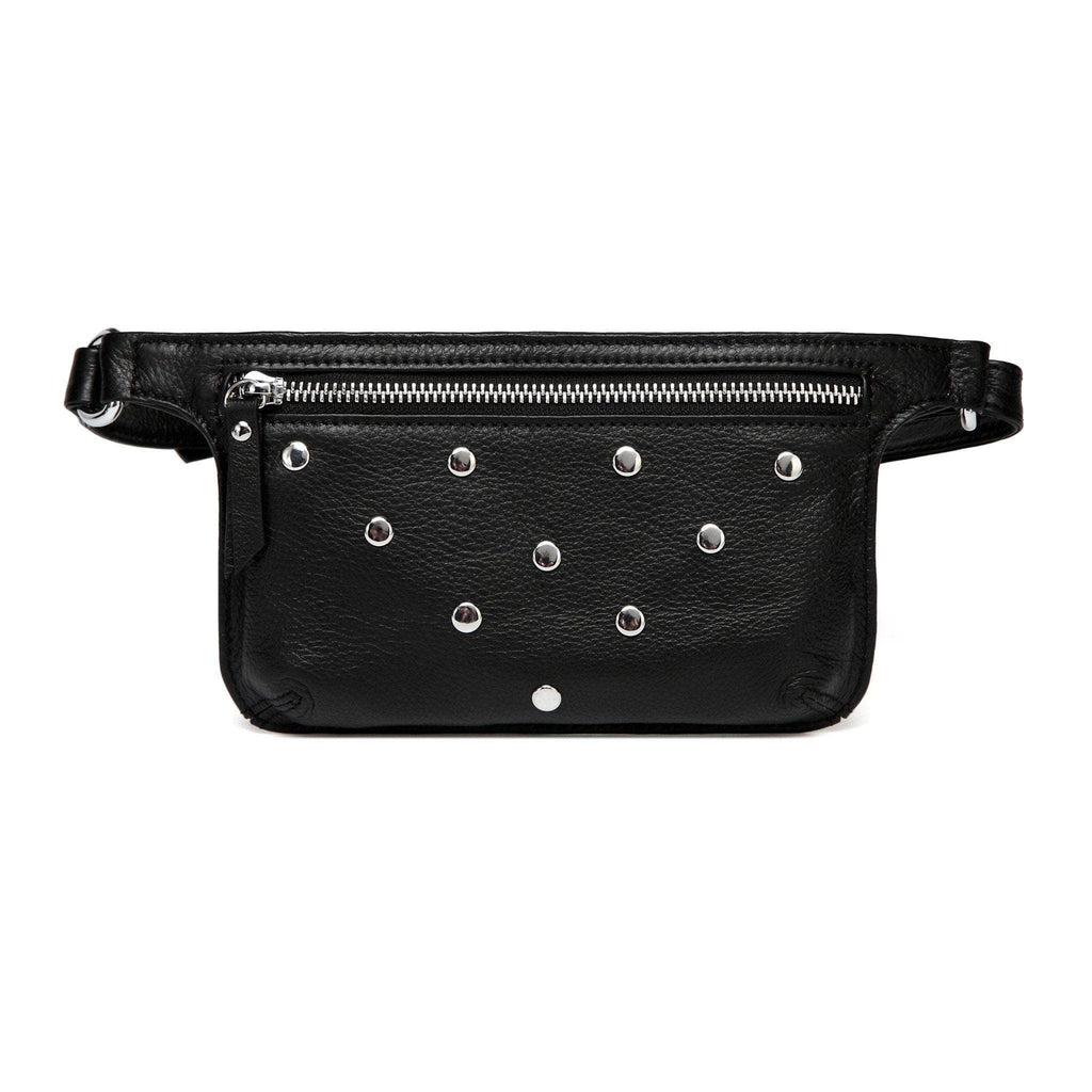 Arlette Studded Leather Waist Bag / Belt Bag - Black waist pack - Vicenzo Leather - Designer