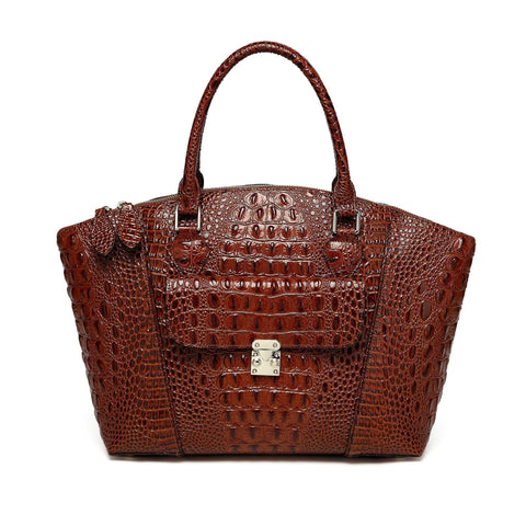Carrina Croc Embossed Leather Handbag - Chestnut Handbags - Vicenzo Leather - Designer