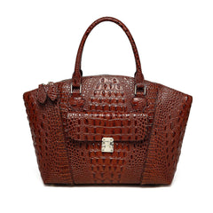 Carrina Croc Embossed Leather Handbag - Chestnut