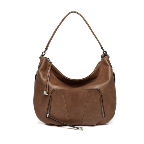 Volante Distressed Leather Crossbody Bag - Brown Handbags - Vicenzo Leather - Designer