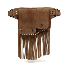 Laurel Suede Leather Fringe WaistBag - Brown waist pack - Vicenzo Leather