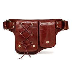 Yvette Leather  Leather Waist Purse Fanny Pack - Red waist pack - Vicenzo Leather