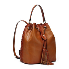 Chantel Leather Bucket Bag Backpack/Crossbody Bag - Brown Handbags - Vicenzo Leather