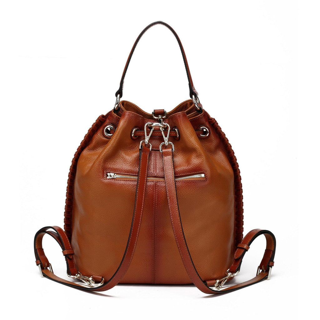 Chantel Leather Bucket  Backpack Bag - Brown Handbags - Vicenzo Leather - Designer