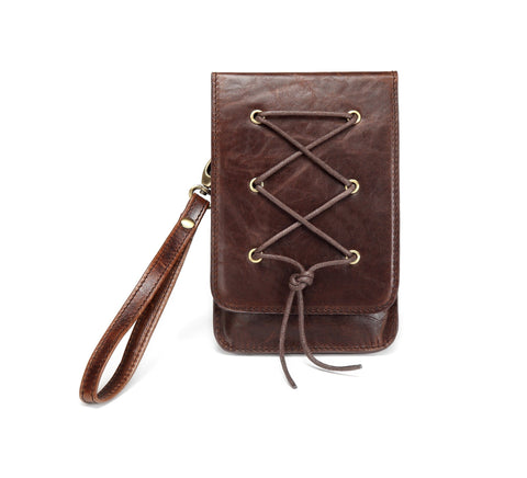Amite Distressed Leather Cellphone Crossbody Bag