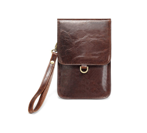 Advent Distressed Leather Cellphone Crossbody Bag