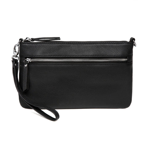 Macy Distressed Leather Crossbody/Clutch - Black - Monogram Handbags - Vicenzo Leather - Designer