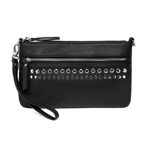 Stacey Distressed Leather Crossbody/Clutch- Black Handbags - Vicenzo Leather