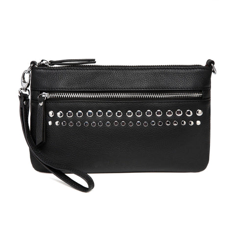 Stacey Distressed Leather Crossbody/Clutch - Black - Monogram Handbags - Vicenzo Leather - Designer