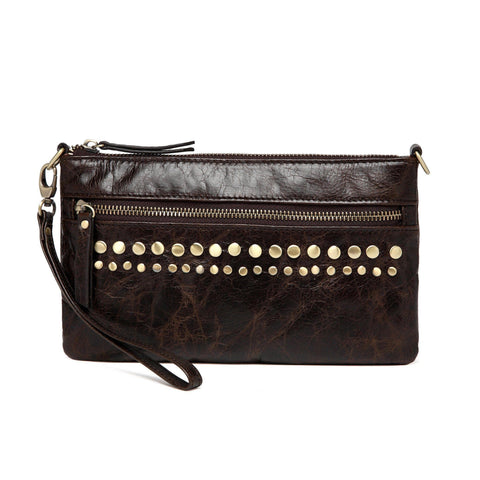 Stacey Distressed Leather Crossbody/Clutch- Dark Brown Handbags - Vicenzo Leather - Designer