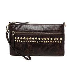 Stacey Distressed Leather Crossbody/Clutch- Dark Brown