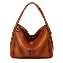 Elle Leather Hobo Handbag - Brown Handbags - Vicenzo Leather