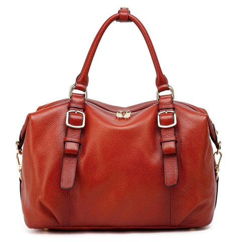 Infinity Leather Top Handle  Satchel Handbag - Red Handbags - Vicenzo Leather - Designer